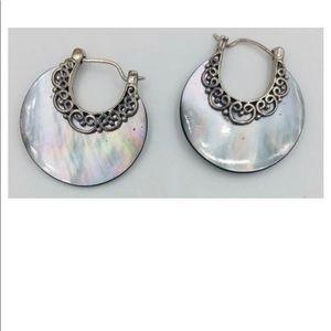 Sterling silver hoop earrings mother of pearl
